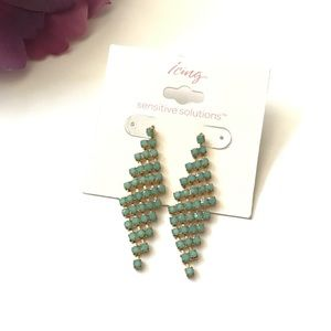 Icing gold and green earrings